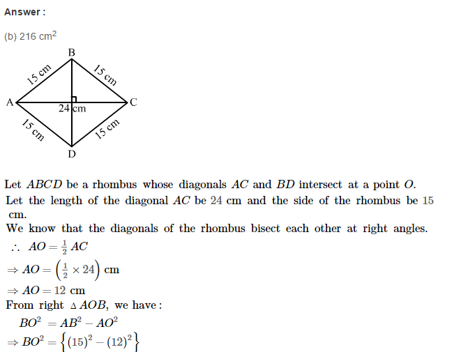 Area of Trapezium and Polygon RS Aggarwal Class 8 Maths Solutions CCE Test Paper 10.1