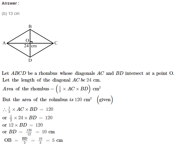 Area of Trapezium and Polygon RS Aggarwal Class 8 Maths Solutions CCE Test Paper 11.1