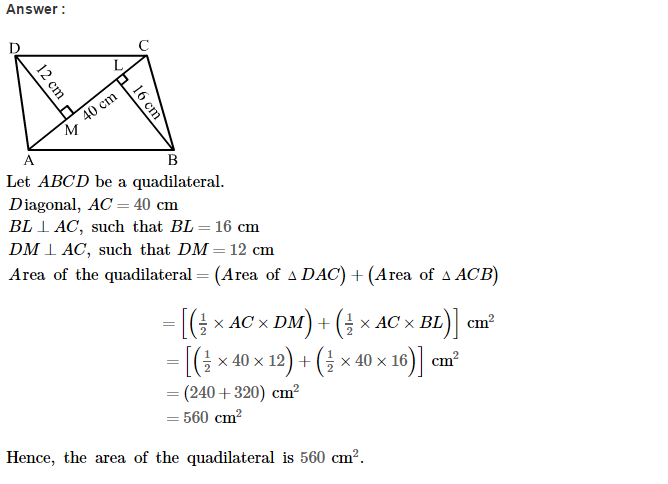 Area of Trapezium and Polygon RS Aggarwal Class 8 Maths Solutions CCE Test Paper 5.1