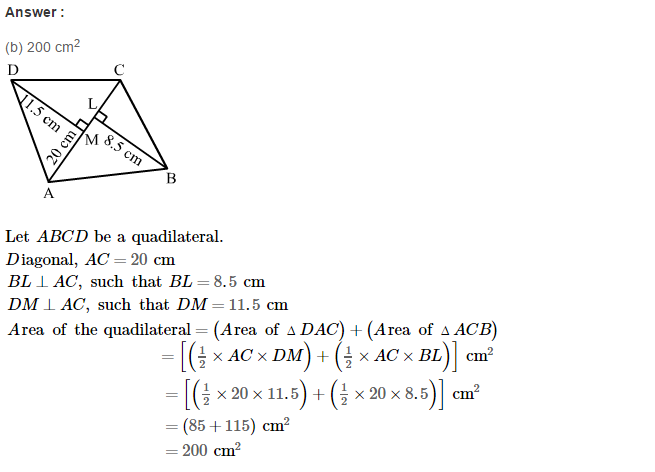 Area of Trapezium and Polygon RS Aggarwal Class 8 Maths Solutions CCE Test Paper 9.1
