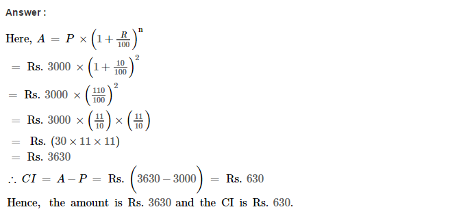 Compound Interest RS Aggarwal Class 8 Maths Solutions CCE Test Paper Q1.1