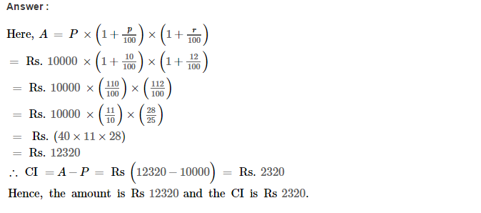 Compound Interest RS Aggarwal Class 8 Maths Solutions CCE Test Paper Q2.1