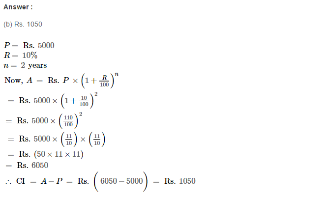 Compound Interest RS Aggarwal Class 8 Maths Solutions CCE Test Paper Q6.1