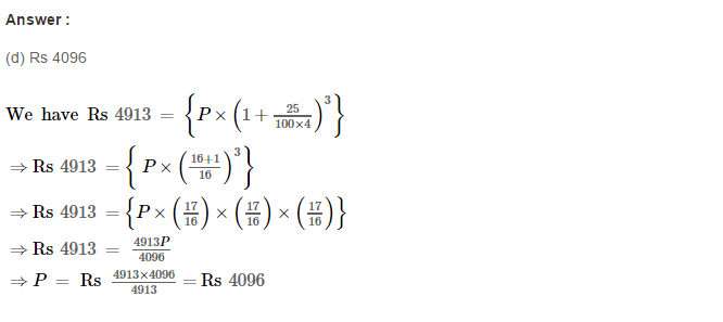 Compound Interest RS Aggarwal Class 8 Maths Solutions Ex 11D 14.1