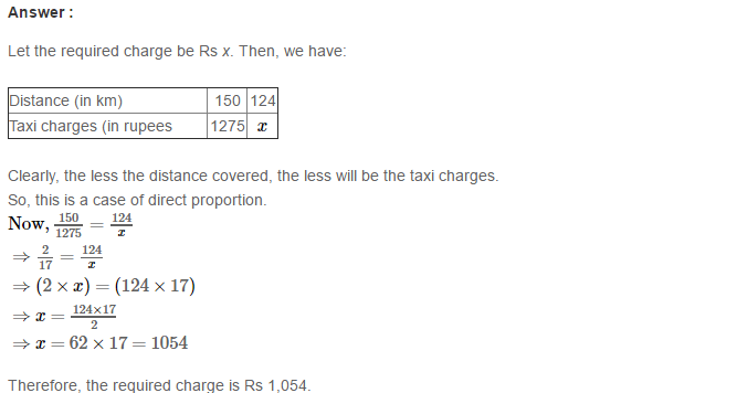 Direct and Inverse Proportions RS Aggarwal Class 8 Maths Solutions CCE Test Paper 4.1
