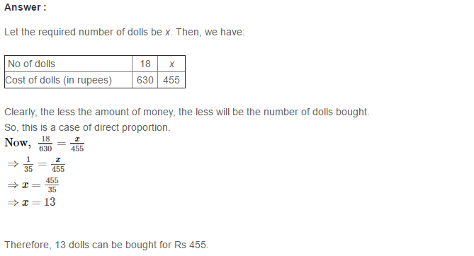 Direct and Inverse Proportions RS Aggarwal Class 8 Maths Solutions CCE Test Paper 6.1