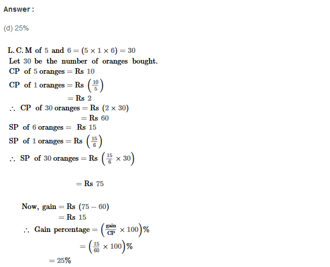 Profit and Loss RS Aggarwal Class 8 Maths Solutions Ex 10D 10.1