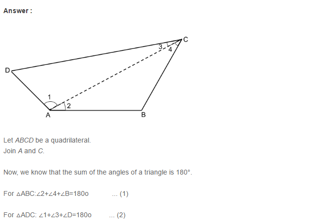 Quadrilaterals RS Aggarwal Class 8 Maths Solutions 3.1