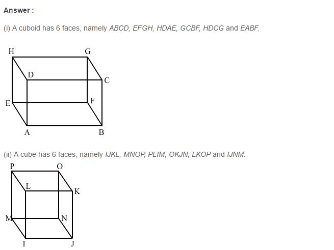 Three Dimensional Shapes RS Aggarwal Class 8 Maths Solutions Ex 19A 1.1