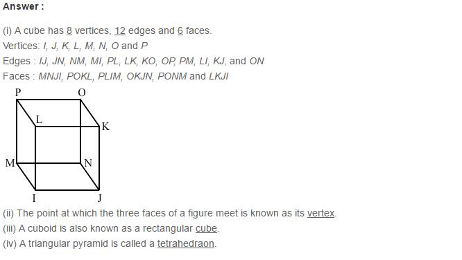 Three Dimensional Shapes RS Aggarwal Class 8 Maths Solutions Ex 19A 4.1