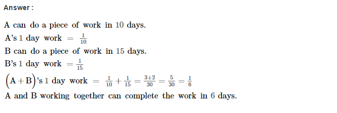 Time and Work RS Aggarwal Class 8 Maths Solutions CCE Test Paper 1.1