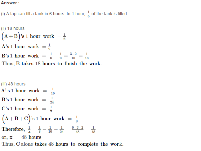Time and Work RS Aggarwal Class 8 Maths Solutions CCE Test Paper 11.1