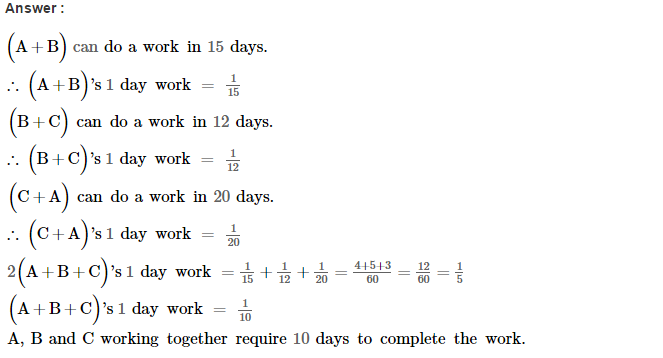 Time and Work RS Aggarwal Class 8 Maths Solutions CCE Test Paper 2.1