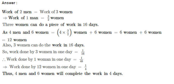 Time and Work RS Aggarwal Class 8 Maths Solutions CCE Test Paper 4.1