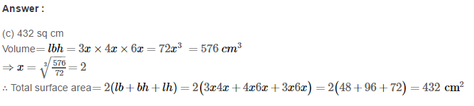 Volume and Surface Area of Solids RS Aggarwal Class 8 Solutions CCE Test Paper 11.1