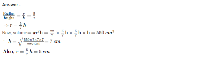 Volume and Surface Area of Solids RS Aggarwal Class 8 Solutions CCE Test Paper 3.1