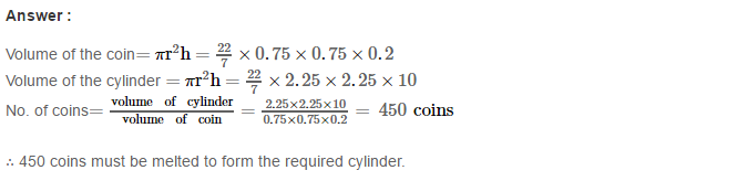 Volume and Surface Area of Solids RS Aggarwal Class 8 Solutions CCE Test Paper 4.1
