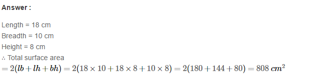 Volume and Surface Area of Solids RS Aggarwal Class 8 Solutions CCE Test Paper 5.1