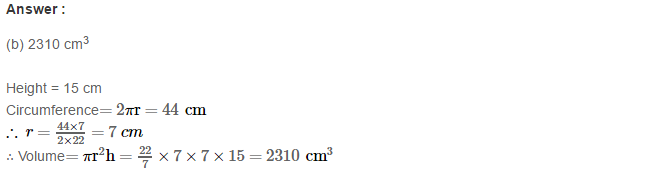 Volume and Surface Area of Solids RS Aggarwal Class 8 Solutions CCE Test Paper 7.1