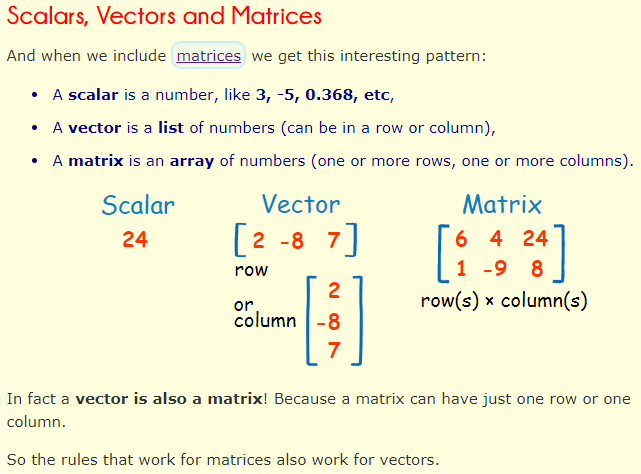 scalars, Vectors and Matrices