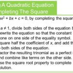 Solving A Quadratic Equation By Completing The Square 1
