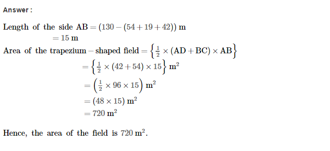 Area of Trapezium and Polygon RS Aggarwal Class 8 Maths Solutions Ex 18A 10.1