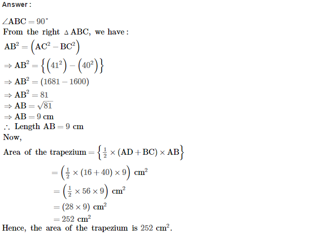 Area of Trapezium and Polygon RS Aggarwal Class 8 Maths Solutions Ex 18A 11.1