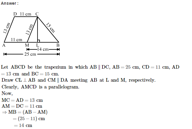 Area of Trapezium and Polygon RS Aggarwal Class 8 Maths Solutions Ex 18A 13.1