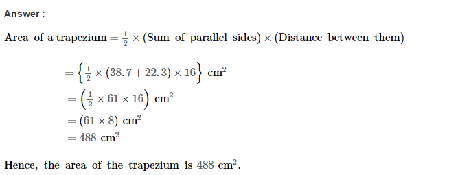 Area of Trapezium and Polygon RS Aggarwal Class 8 Maths Solutions Ex 18A 3.1