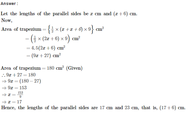 Area of Trapezium and Polygon RS Aggarwal Class 8 Maths Solutions Ex 18A 8.1