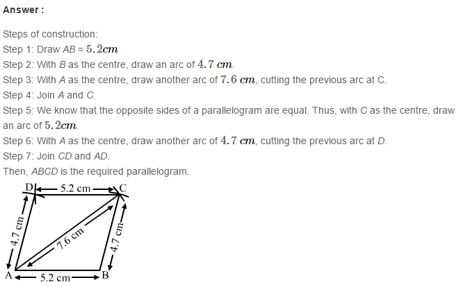 Construction of Quadrilaterals RS Aggarwal Class 8 Maths Solutions Ex 17B 3.1