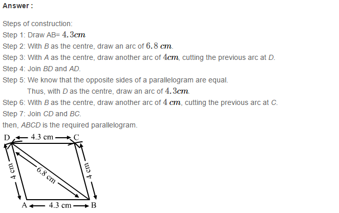Construction of Quadrilaterals RS Aggarwal Class 8 Maths Solutions Ex 17B 4.1
