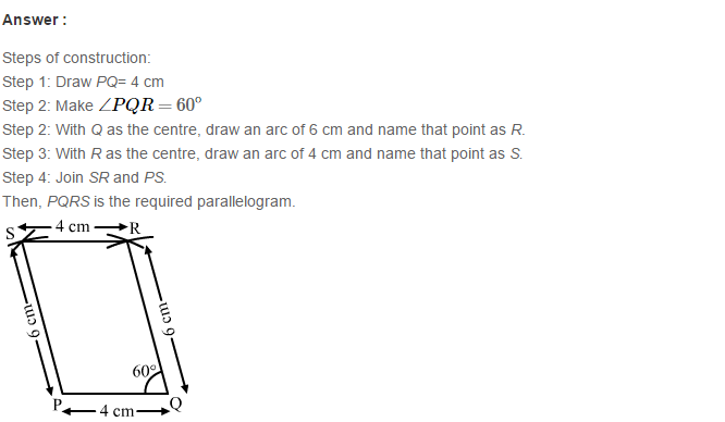 Construction of Quadrilaterals RS Aggarwal Class 8 Maths Solutions Ex 17B 5.1