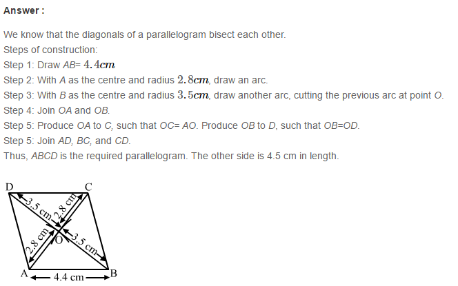 Construction of Quadrilaterals RS Aggarwal Class 8 Maths Solutions Ex 17B 7.1