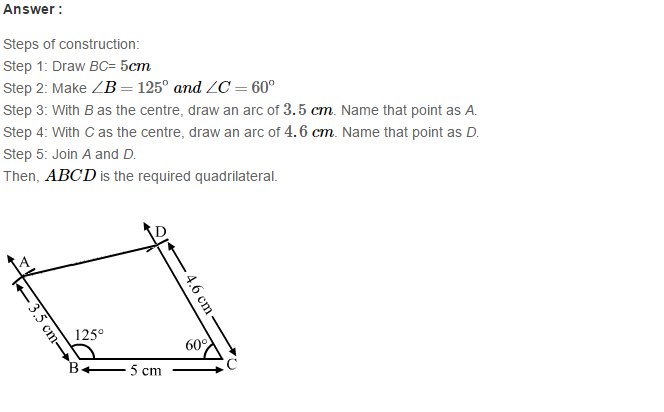 Construction of Quadrilaterals RS Aggarwal Class 8 Maths Solutions Exercise 17A 10.1