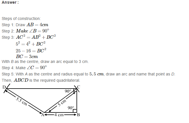 Construction of Quadrilaterals RS Aggarwal Class 8 Maths Solutions Exercise 17A 14.1