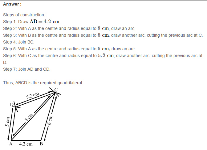 Construction of Quadrilaterals RS Aggarwal Class 8 Maths Solutions Exercise 17A 2.1