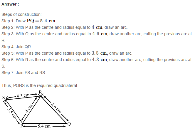 Construction of Quadrilaterals RS Aggarwal Class 8 Maths Solutions Exercise 17A 3.1