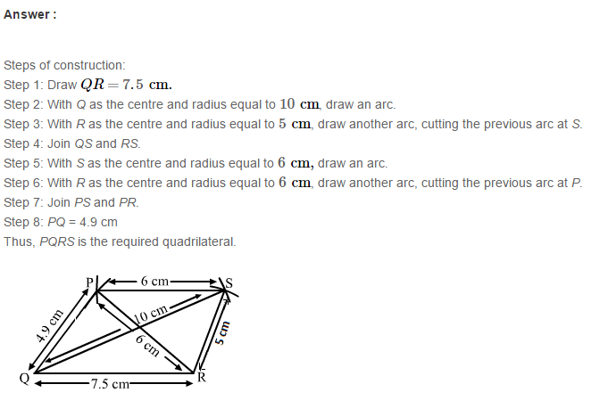 Construction of Quadrilaterals RS Aggarwal Class 8 Maths Solutions Exercise 17A 6.1