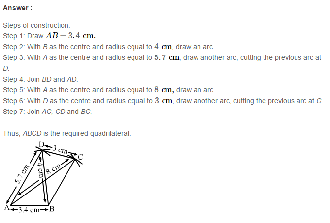 Construction of Quadrilaterals RS Aggarwal Class 8 Maths Solutions Exercise 17A 7.1