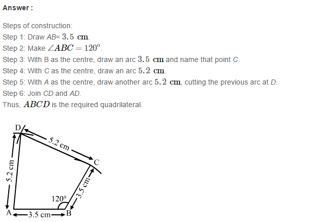 Construction of Quadrilaterals RS Aggarwal Class 8 Maths Solutions Exercise 17A 8.1