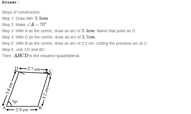 Construction of Quadrilaterals RS Aggarwal Class 8 Maths Solutions Exercise 17A 9.1
