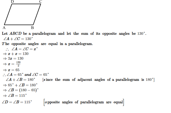 Parallelograms RS Aggarwal Class 8 Maths Solutions Exercise 16A 6.1