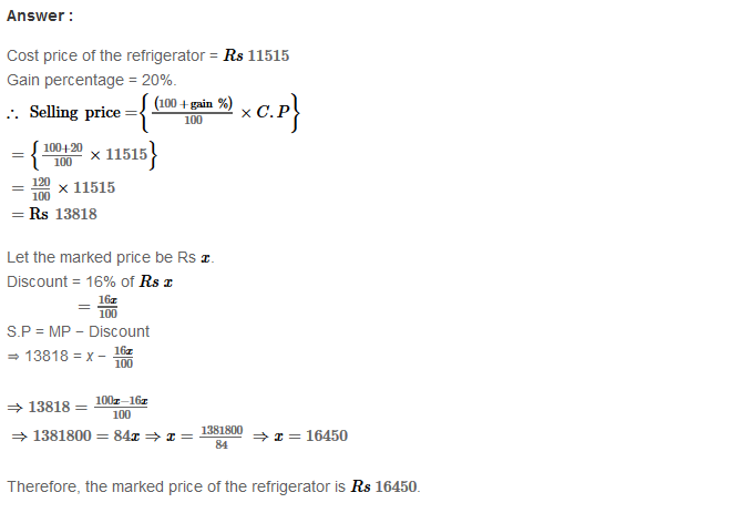 Profit and Loss RS Aggarwal Class 8 Maths Solutions Ex 10B 12.1