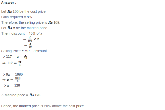 Profit and Loss RS Aggarwal Class 8 Maths Solutions Ex 10B 15.1