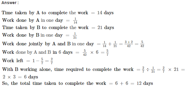 Time and Work RS Aggarwal Class 8 Maths Solutions Ex 13A 10.1
