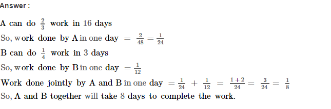 Time and Work RS Aggarwal Class 8 Maths Solutions Ex 13A 11.1