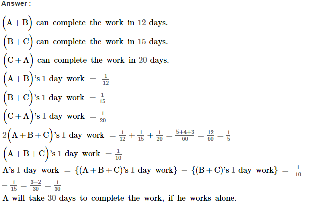 Time and Work RS Aggarwal Class 8 Maths Solutions Ex 13A 14.1