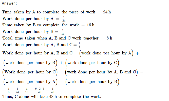 Time and Work RS Aggarwal Class 8 Maths Solutions Ex 13A 7.1