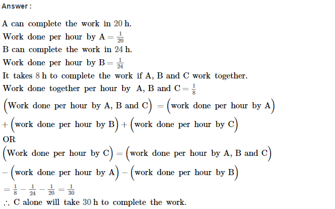 Time and Work RS Aggarwal Class 8 Maths Solutions Ex 13A 8.1